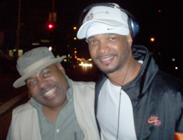 "Reginal Vel Johnson and Damon Wayans on the set of ""Behind the Smile"""